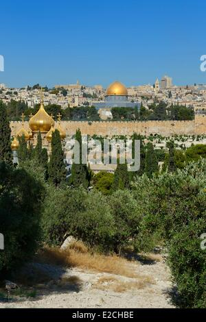 Israel, Jerusalem, holy city, the old town listed as World Heritage by UNESCO, the Dome of the Rock on Haram el - Stock Photo