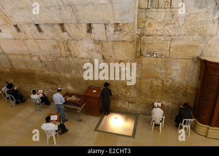Israel, Jerusalem, holy city, the old town listed as World Heritage by UNESCO, covered part of the Western Wall - Stock Photo