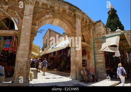 Israel, Jerusalem, holy city, the old town listed as World Heritage by UNESCO, Christian District, Muristan bazaar - Stock Photo