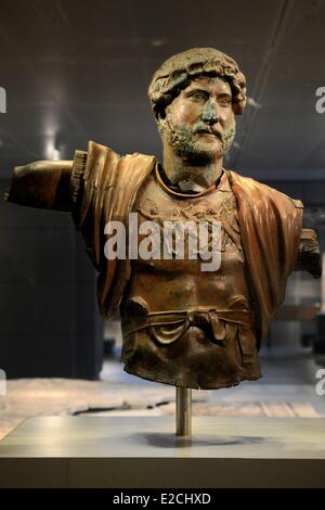 Israel, Jerusalem, Guivat Ram District, Israel Museum, department of archeology, bronze statue of Emperor Hadrian - Stock Photo