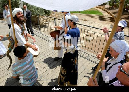 Israel, Jerusalem, holy city, old town World Heritage UNESCO, one of many ceremonies of Bar Mitzvah to move toward - Stock Photo