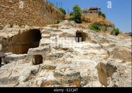 Israel, Jerusalem, holy city, City of David south of old town, weill excavations at alleged tombs of house of David - Stock Photo