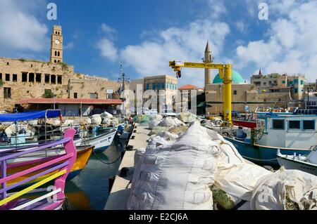 Israel, North district, Galilee, Acre (Akko), old town, UNESCO, Ottoman city, port and tower of caravanserai Khan - Stock Photo