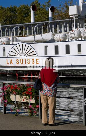 Switzerland, Canton of Vaud, Lausanne, Ouchy district of Lac Leman, famous paddle boat Switzerland in the Old Port - Stock Photo