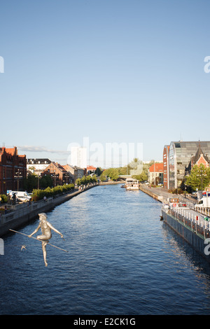 The river Brda is seen running through the old center of Bydgoszcz, Poland. - Stock Photo