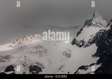 France Hautes Alpes Le Chazelet panorama on the Meije glaciers - Stock Photo