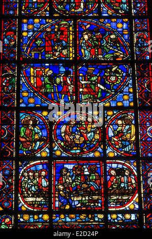 France Seine Maritime Rouen Notre Dame of Rouen Cathedral stained glass windows depicting scenes from the Bible - Stock Photo