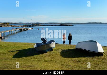 Sweden Vastra Gotaland Koster Islands Sydkoster Bergdalen pier - Stock Photo