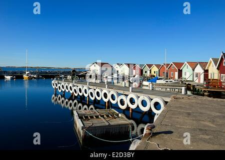 Sweden Vastra Gotaland Koster Islands Sydkoster fishing port of Brevik Lobster park in the foreground to store the - Stock Photo