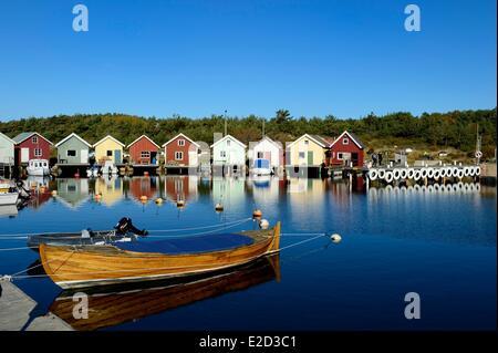 Sweden Vastra Gotaland Koster Islands Sydkoster fishing port of Brevik - Stock Photo