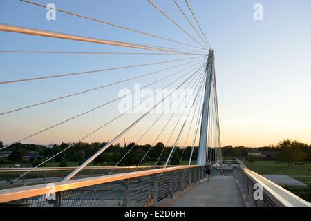 France Bas Rhin between Strasbourg and Kehl in Germany the garden of Two Rivers the Rhine the Mimram bridge connecting - Stock Photo