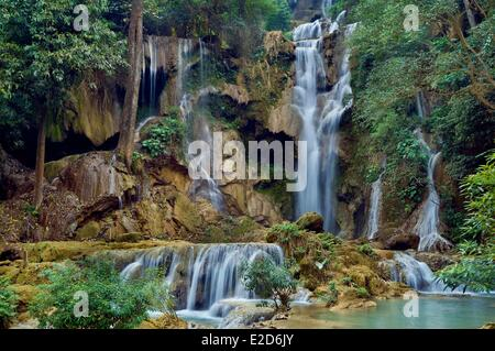 Laos Luang Prabang porvince Kuang Si waterfall - Stock Photo