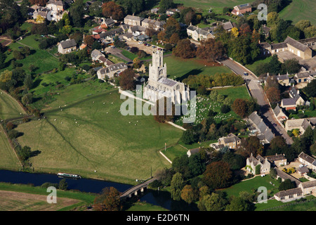 Aerial View of Fotheringhay Church - Stock Photo