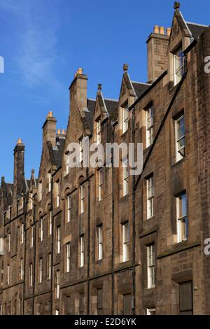 United Kingdom Scotland Edinburgh listed as World Heritage by UNESCO facade of buildings on Grassmarket - Stock Photo