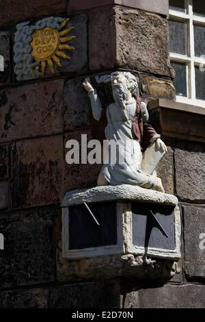 United Kingdom Scotland Edinburgh listed as World Heritage by UNESCO ornamental detail of the house of John Knox - Stock Photo