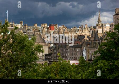 United Kingdom Scotland Edinburgh listed as World Heritage by UNESCO view of the hill of the castle from Princes - Stock Photo