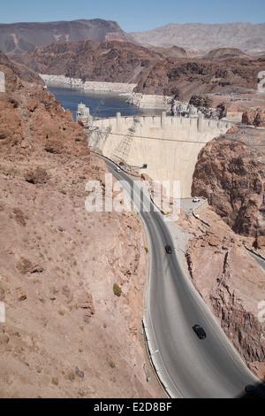 Hoover Dam situated in the Black Canyon of the Colorado River between the Arizona and Nevada border line USA, April - Stock Photo