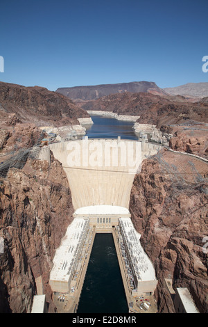 Hoover Dam situated in the Black Canyon of the Colorado River between the Arizona and Nevada border line USA April - Stock Photo