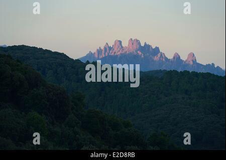 France, Corse du Sud, Alta Rocca, Aiguilles de Bavella (Bavella Needles) at sunset - Stock Photo