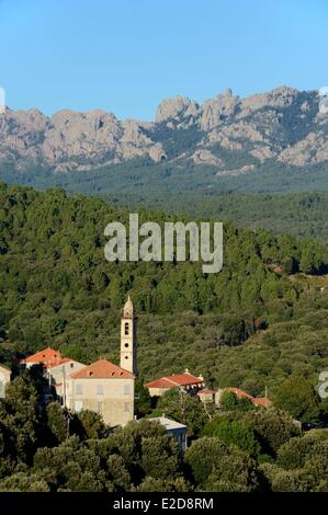 France, Corse du Sud, Alta Rocca, village of Levie and Bavella masssif in the background - Stock Photo