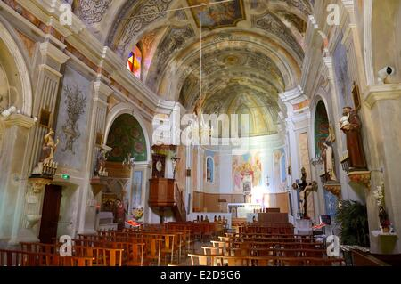 France, Corse du Sud, Cargese, catholic church (latin rite) built in the 19th century - Stock Photo
