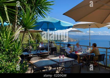 France, Corse du Sud, Cargese, restaurant-glacier A Volta - Stock Photo