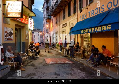 France, Haute Corse, Corte, the Cyrnéa Bar in the old town - Stock Photo