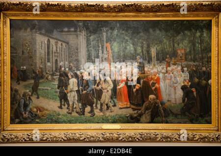 France, Finistere, Quimper, musee des Beaux Arts, The Pardon of Kergoat (1891) by the painter Jules Breton - Stock Photo