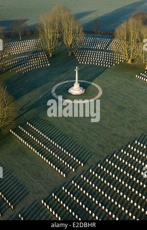 France Calvados Bayeux the largest British military cemetery in France with 4648 tombs (aerial view) - Stock Photo