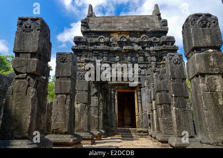 Sri Lanka, Central Province, Matale District, Naula, Stone Indian temple of Nalanda Gedige of 8th century situated - Stock Photo