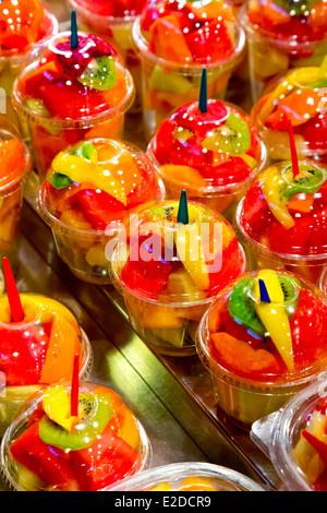 Fruit Cups on the Mercat de Sant Josep de la Boquería in Barcelona, Spain - Stock Photo