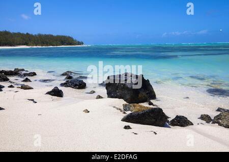 Mauritius, Flacq District, Ile aux Cerfs, White sand beach - Stock Photo