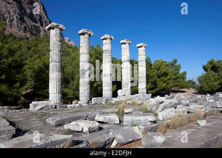 Turkey, Ionia Region, Priene, The Temple of Athena, funded by Alexander the Great - Stock Photo