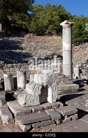 Turkey, Ionia Region, Priene, Bizantine basilica, bishop's throne - Stock Photo
