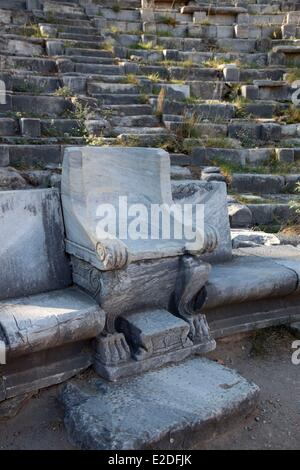 Turkey, Ionia Region, Priene, Theater, Marcle chair with lion leg - Stock Photo