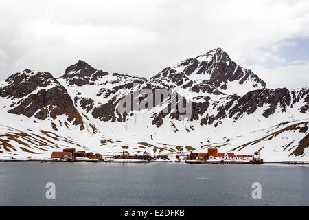 Antarctic, South Georgia Island, Whale station of Grytviken, remainings of the buildings - Stock Photo