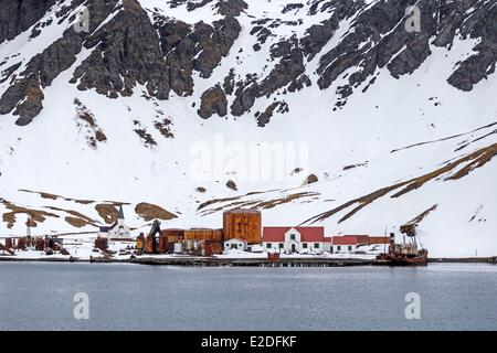 Antarctic, South Georgia Island, Whale station of Grytviken - Stock Photo