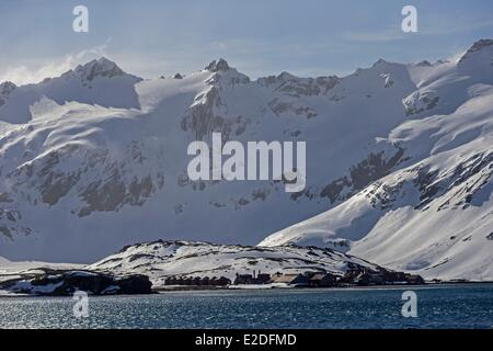 Antarctic, South Georgia Island, Whale station of Stromness Harbour - Stock Photo