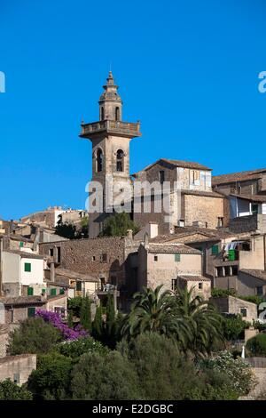 Spain, Balearic islands, Mallorca, Valldemosa, Monastery and the village - Stock Photo