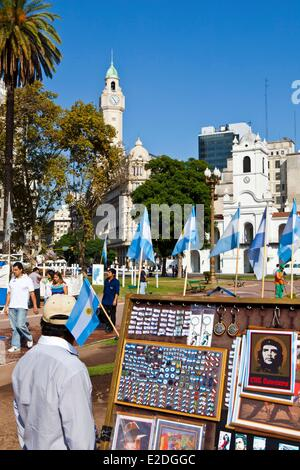 Argentina Buenos Aires The plaza de Mayo a symbol of the resistance with an iconic souvenirs seller - Stock Photo