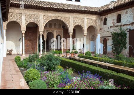 Spain, Andalusia, Granada, the Alhambra Palace, listed as World Heritage by UNESCO, the Nasrides Palace, Patio de - Stock Photo