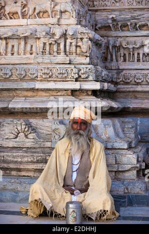 India Rajasthan state Udaipur Sadhu at the Jagdish Temple a hindu temple dedicated to Lord Vishnu - Stock Photo