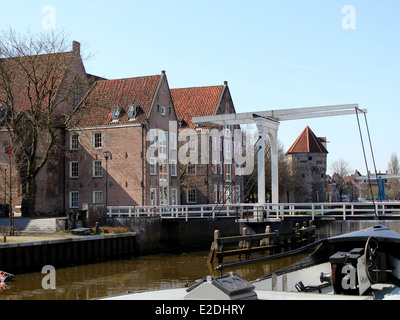 Wooden draw bridge, ramparts & old city wall in Zwolle, The Netherlands at Thorbeckegracht / Thorbecke canal. - Stock Photo