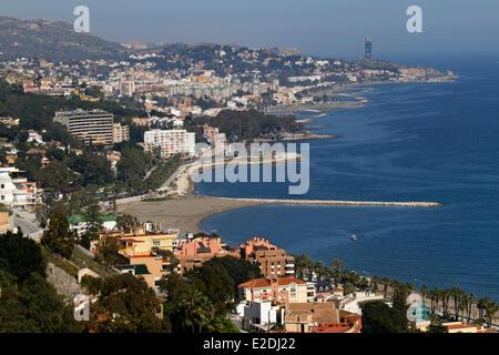 Spain Andalucia Costa del Sol Malaga panoramic view of the coast - Stock Photo