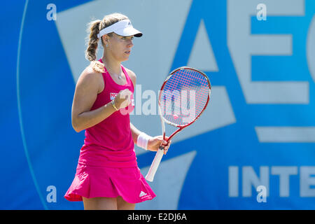 Eastbourne, UK. 19th June, 2014. Angelique Kerber of Germany in action against Ekaterina Makarova of Russia in their - Stock Photo