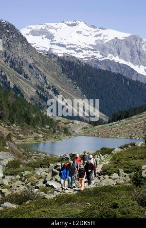 France, Hautes Pyrenees, Pyrenees National Park, Val d'Azun, Arrens Marsous, Ribette valley and Suyen lake, Hiking - Stock Photo