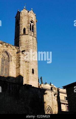 Spain Catalonia Barcelona Placa del Rei the 14th century royal chapel of Santa agata - Stock Photo