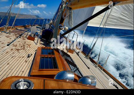 Greece Crete Agios Nikolaos region Elounda 22 meters sailing boat - Stock Photo