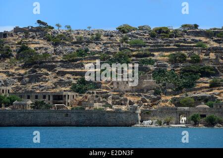 Greece Crete Agios Nikolaos region Elounda island Spinalonga Fort (Kalydon) Venetian fortress - Stock Photo