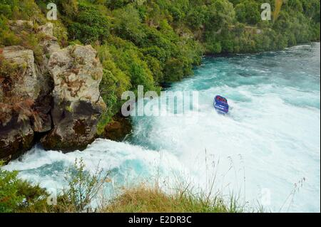 New Zealand North island Taupo The Huka Falls are the largest falls on the Waikato River Hukafalls Jet takes tourists - Stock Photo